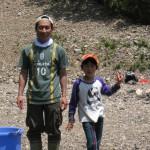 親子渓流釣り教室戸川 親子です